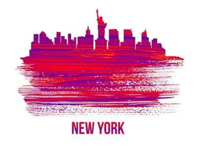 New York Skyline Brush Stroke - Red by NaxArt