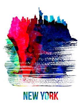 New York Skyline Brush Stroke - Watercolor by NaxArt