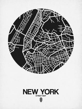 New York Street Map Black and White by NaxArt