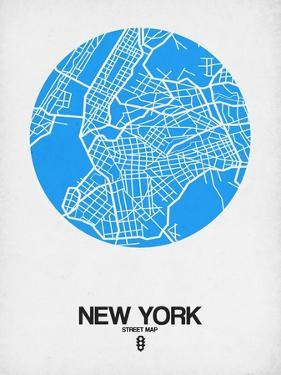 New York Street Map Blue by NaxArt