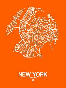 New York Street Map Orange by NaxArt