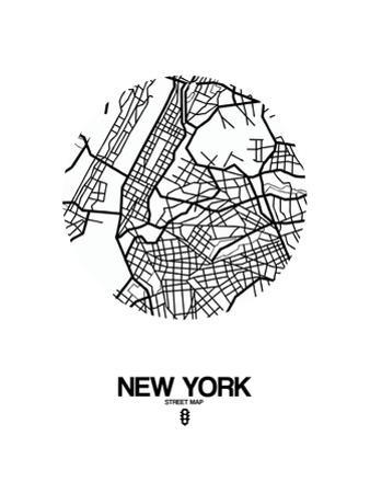 New York Street Map White by NaxArt