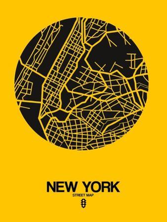New York Street Map Yellow by NaxArt