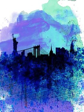 New York Watercolor Skyline 2 by NaxArt