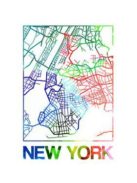 New York Watercolor Street Map by NaxArt