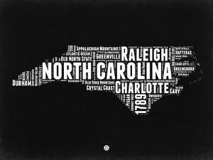 North Carolina Black and White Map by NaxArt