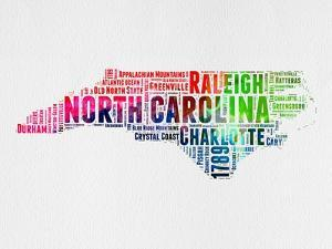 North Carolina Watercolor Word Cloud by NaxArt