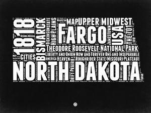 North Dakota Black and White Map by NaxArt