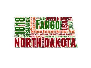 North Dakota Word Cloud Map by NaxArt