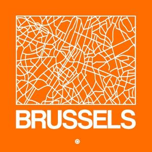 Orange Map of Brussels by NaxArt