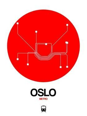 Oslo Red Subway Map by NaxArt