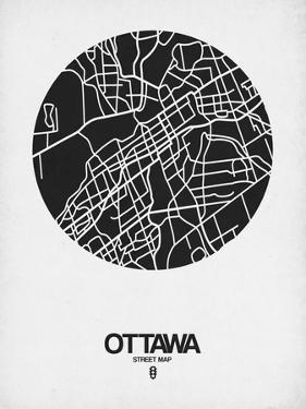 Ottawa Street Map Black on White by NaxArt