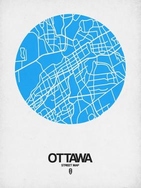Ottawa Street Map Blue by NaxArt