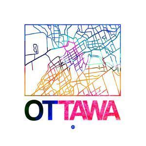 Ottawa Watercolor Street Map by NaxArt