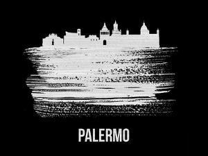 Palermo Skyline Brush Stroke - White by NaxArt