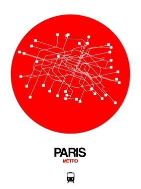 Paris Red Subway Map by NaxArt