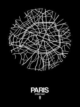 Paris Street Map Black by NaxArt