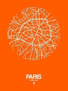 Paris Street Map Orange by NaxArt