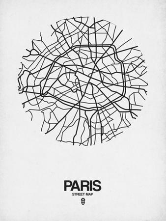 Paris Street Map White by NaxArt