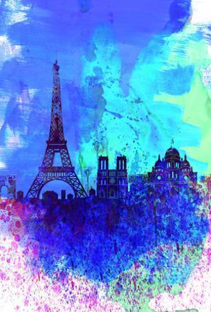 Paris Watercolor Skyline by NaxArt