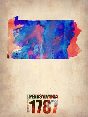 Pennsylvania Watercolor Map by NaxArt