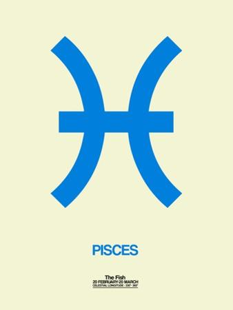 Pisces Zodiac Sign Blue by NaxArt