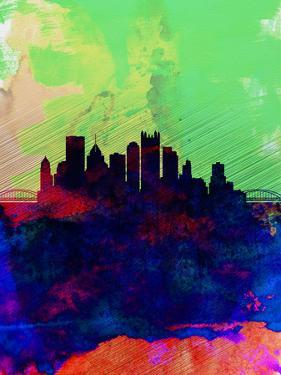 Pittsburgh Watercolor Skyline by NaxArt