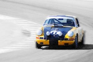 Porsche 911 on Race Track Watercolor by NaxArt