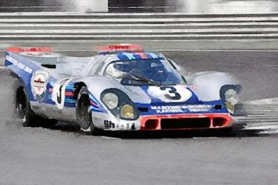 Porsche 917 Martini Rossi Watercolor by NaxArt