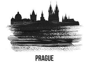 Prague Skyline Brush Stroke - Black II by NaxArt