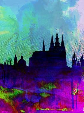Prague Watercolor Skyline by NaxArt