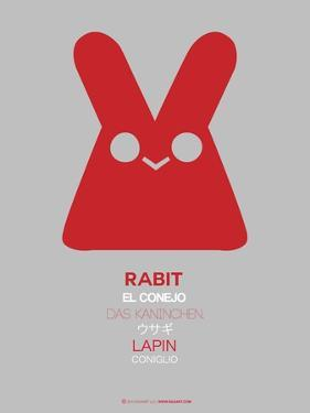 Red Rabbit Multilingual Poster by NaxArt