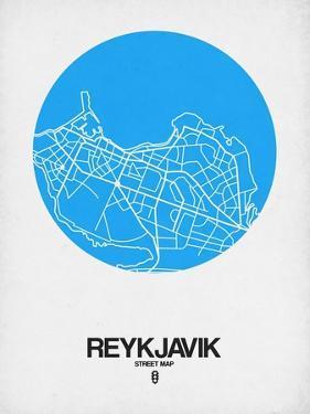 Reykjavik Street Map Blue by NaxArt