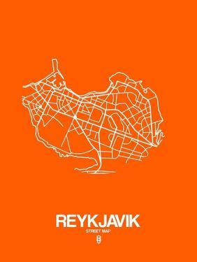 Reykjavik Street Map Orange by NaxArt
