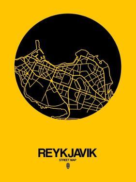 Reykjavik Street Map Yellow by NaxArt