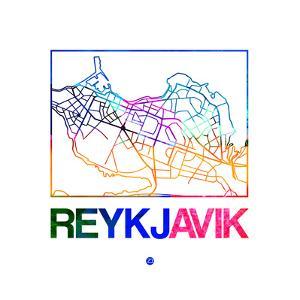 Reykjavik Watercolor Street Map by NaxArt
