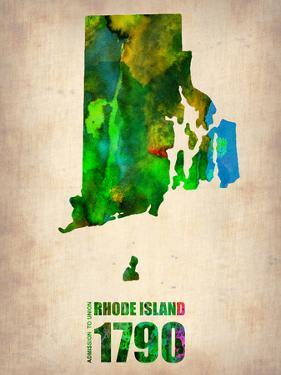 Rhode Island Watercolor Map by NaxArt