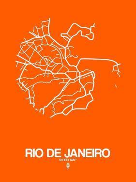 Rio de Janeiro Street Map Orange by NaxArt