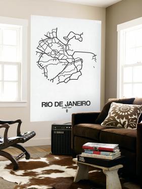Rio de Janeiro Street Map White by NaxArt