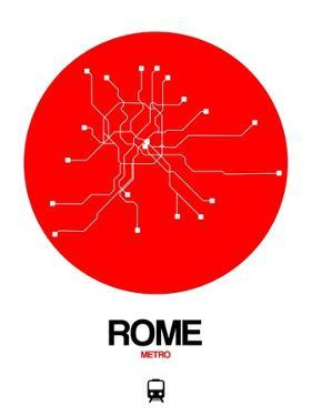 Rome Red Subway Map by NaxArt
