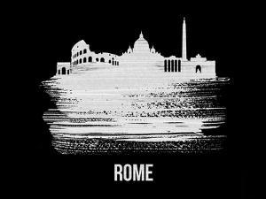 Rome Skyline Brush Stroke - White by NaxArt
