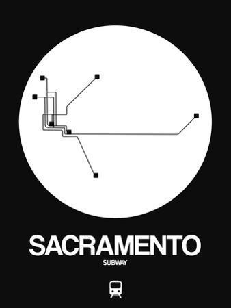Sacramento White Subway Map by NaxArt