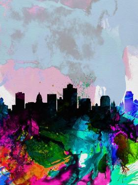 Salt Lake City Watercolor Skyline by NaxArt