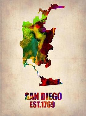 San Diego Watercolor Map by NaxArt