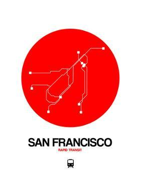 San Francisco Red Subway Map by NaxArt