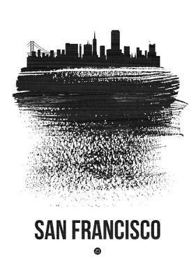 San Francisco Skyline Brush Stroke - Black by NaxArt