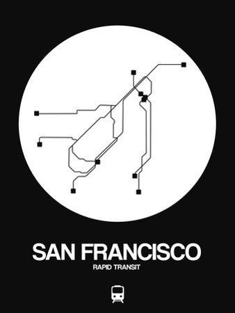 San Francisco White Subway Map by NaxArt