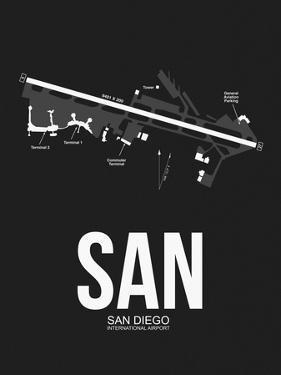 SAN San Diego Airport Black by NaxArt