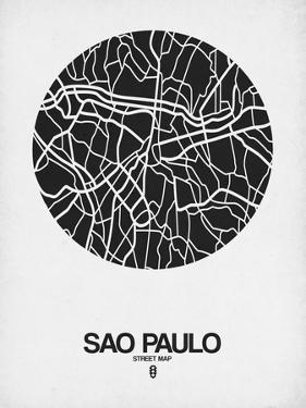 Sao Paulo Street Map Black on White by NaxArt