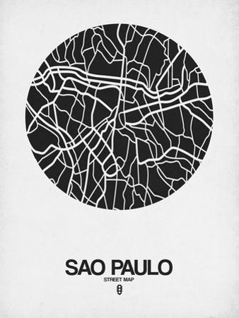 Sao Paulo Street Map Black on White by NaxArt